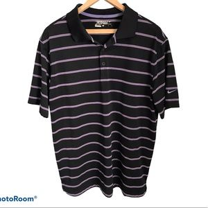 🌸Nike Black w Purple Stripes Dryfit Golf ShirtSzL